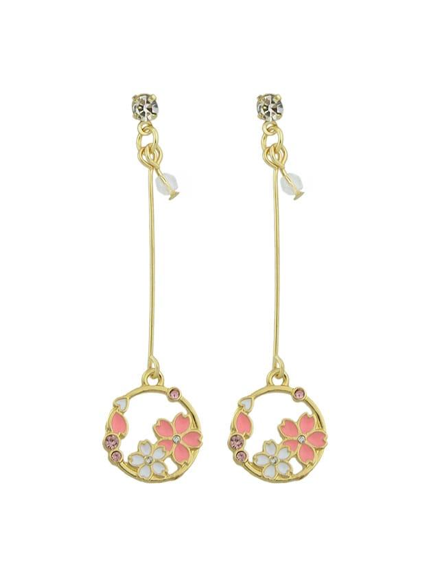 Enamel Flower Round Charm Long Dangle Earrings clip on earrings with mandala flower pattern round pendant