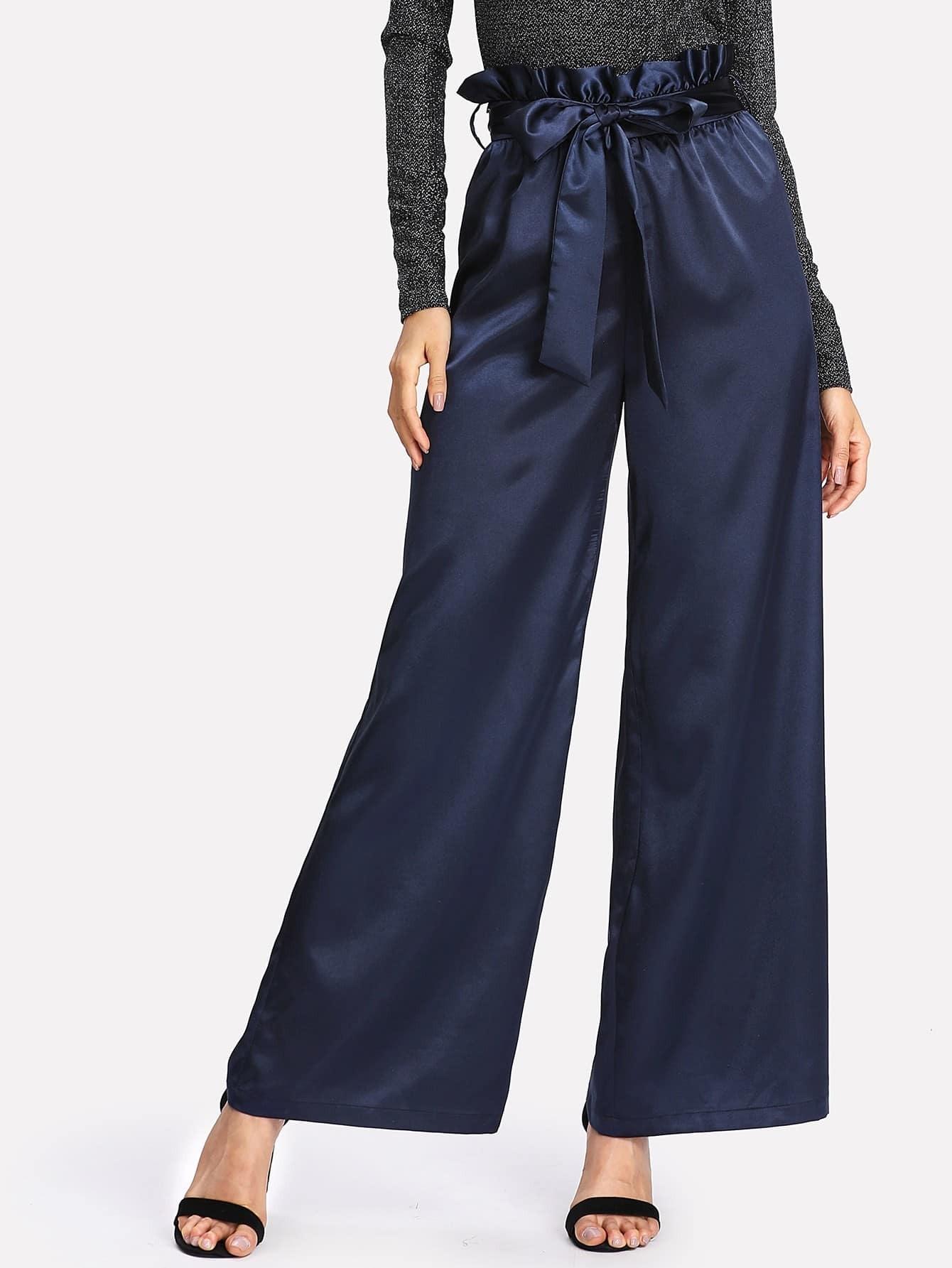 Belted Ruffle Waist Satin Palazzo Pants ruffle waist belted peg pants