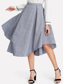 Fold Pleat Curved Plaid Skirt