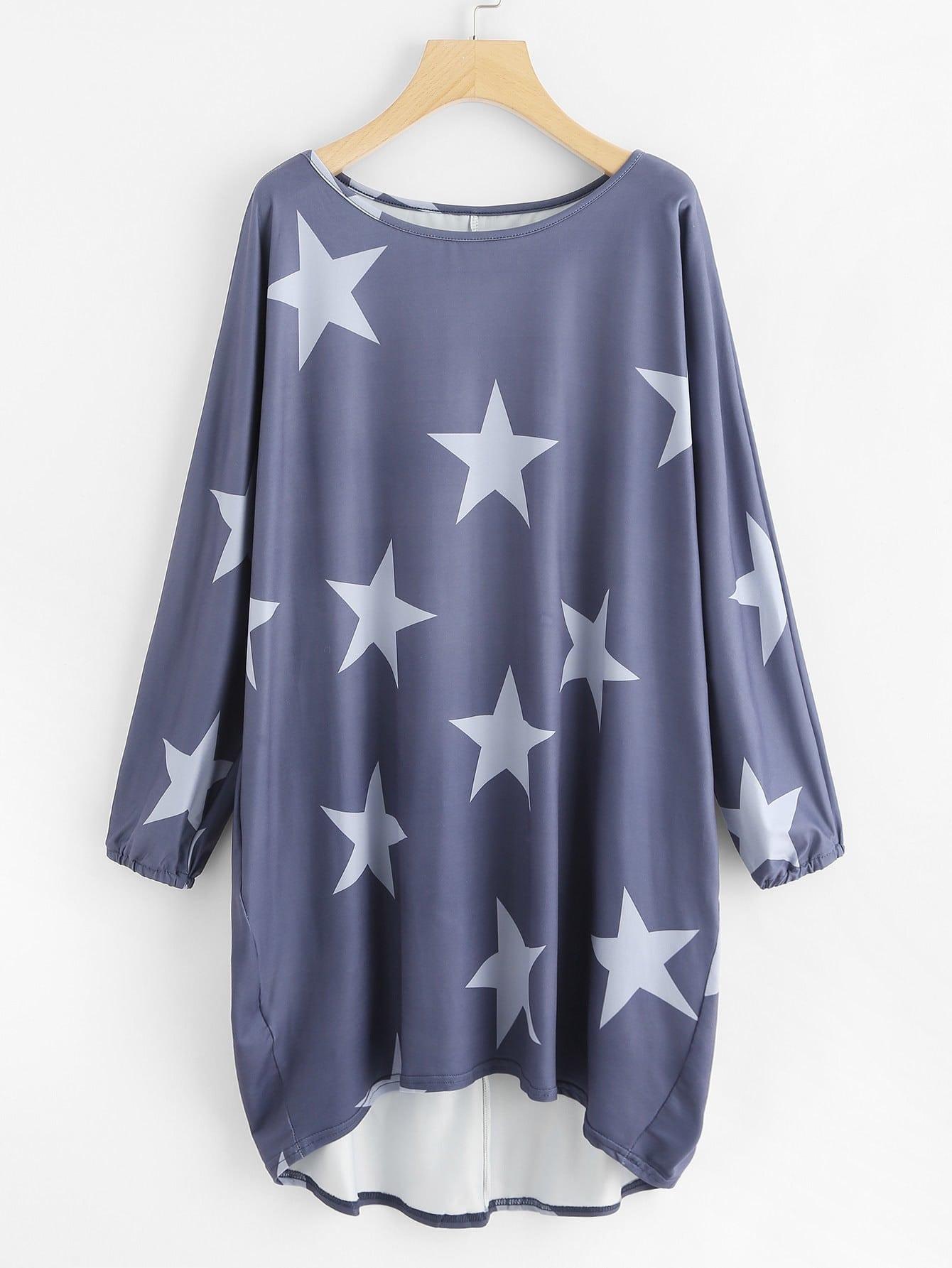 Random Stars Print Dip Hem Cocoon Dress stars print cotton slip sleep dress