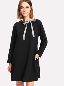 Ribbon Tie Neck Raglan Sleeve Dress