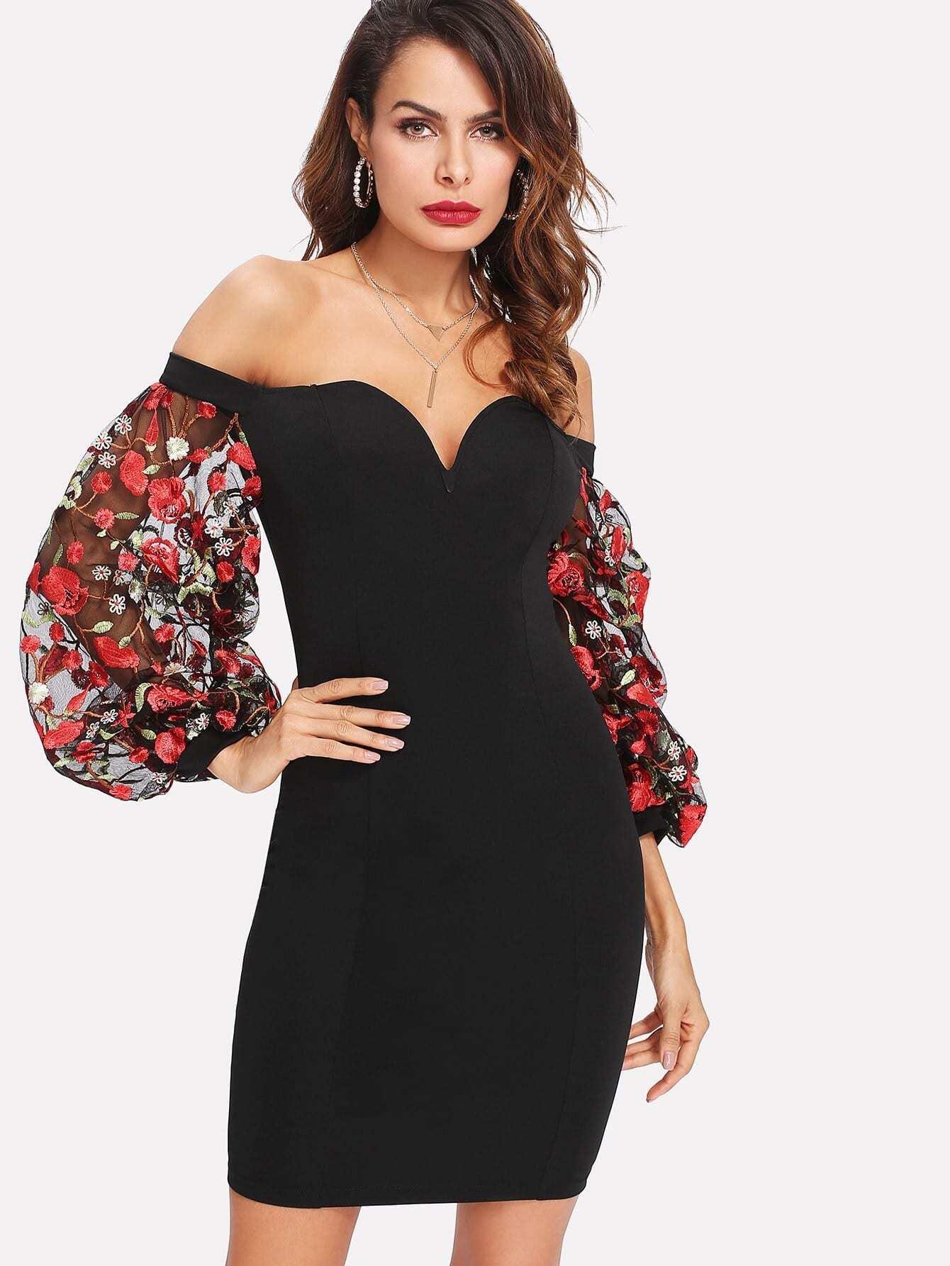 Embroidered Mesh Sleeve Sweetheart Bardot Dress bardot pencil dress with embroidered mesh sleeve