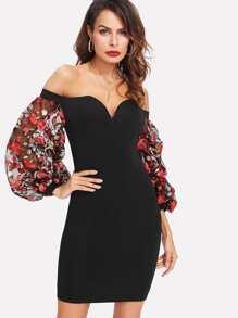 Embroidered Mesh Sleeve Sweetheart Bardot Dress