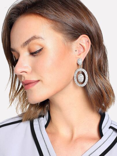 Rhinestone Overlay Oval Shaped Drop Earrings