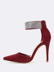 Rhinestone Studded Ankle Strap Stilleto Heels BURGUNDY