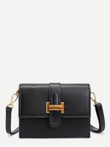 Contrast Buckle Design PU Shoulder Bag