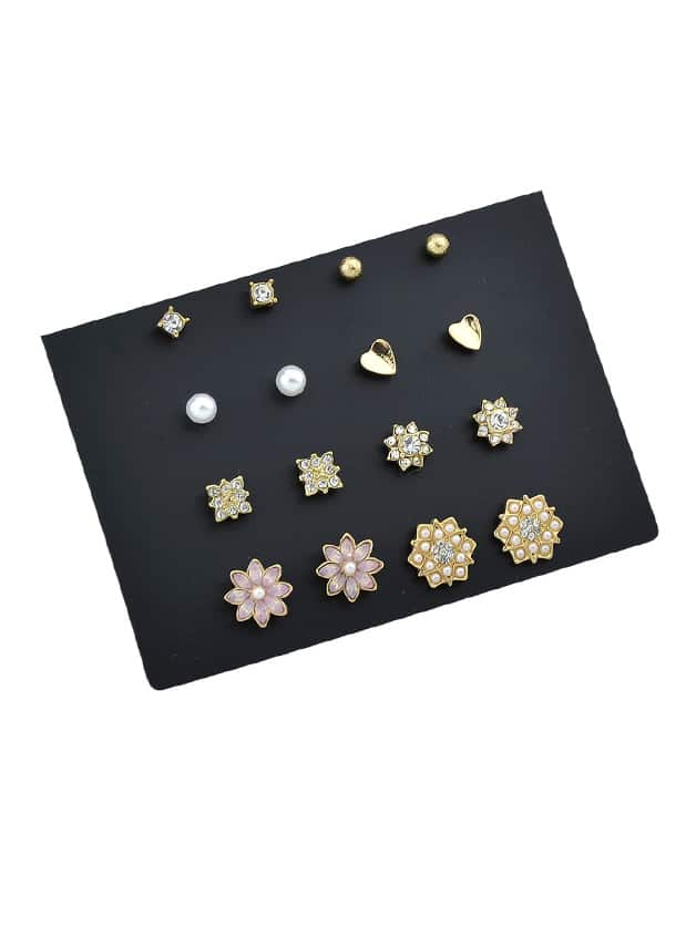 8 Pairs/Set Simulated-Pearl And Rhinestone Flower Cute Earrings gold plated banana plug jack connector set golden 3 5mm 10 pairs