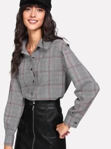 O-Ring Cutout Shoulder Plaid Shirt
