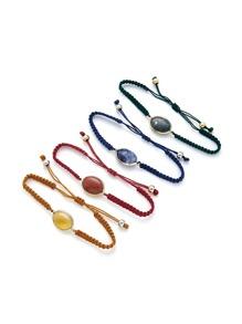 Woven Drawstring Bracelet Set 4pcs