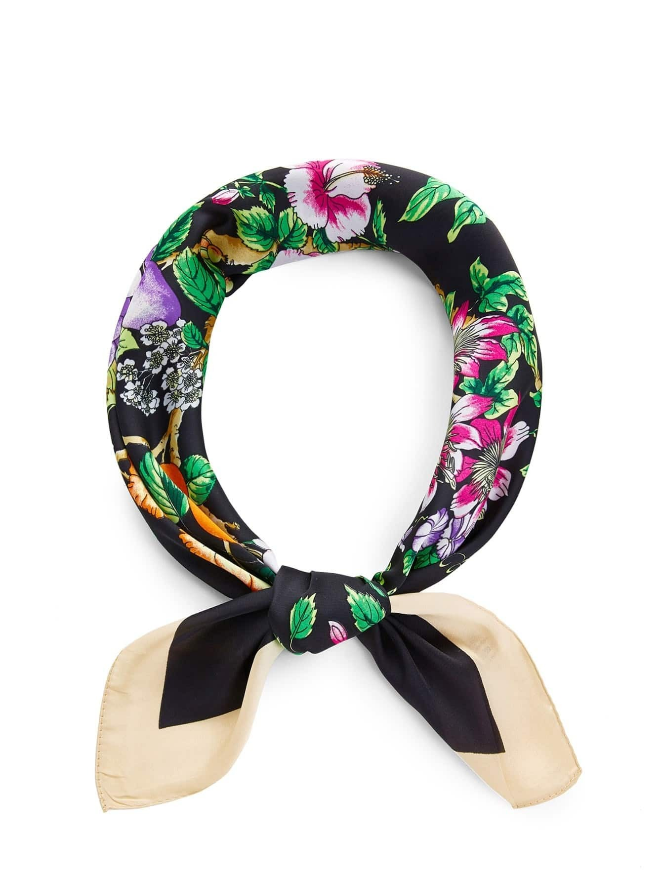 Flower Print Bandana calico print satin bandana