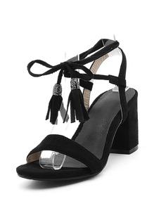 Tassel Lace Up Block Heeled Sandals