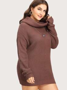 Drop Shoulder Cowl Neck  Sweater