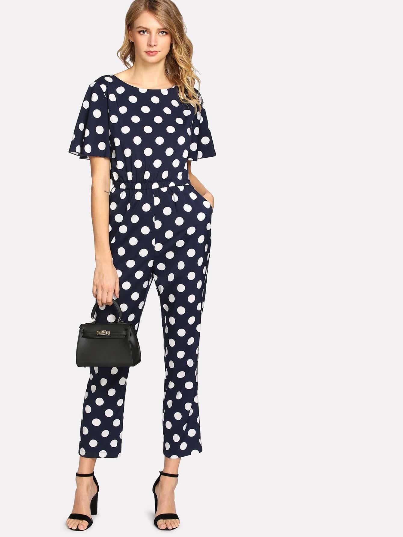 Image of Allover Polka Dot Elastic Waist Jumpsuit