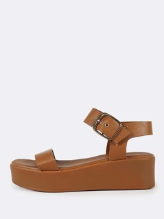 One  Strap Platform Sandals TAN