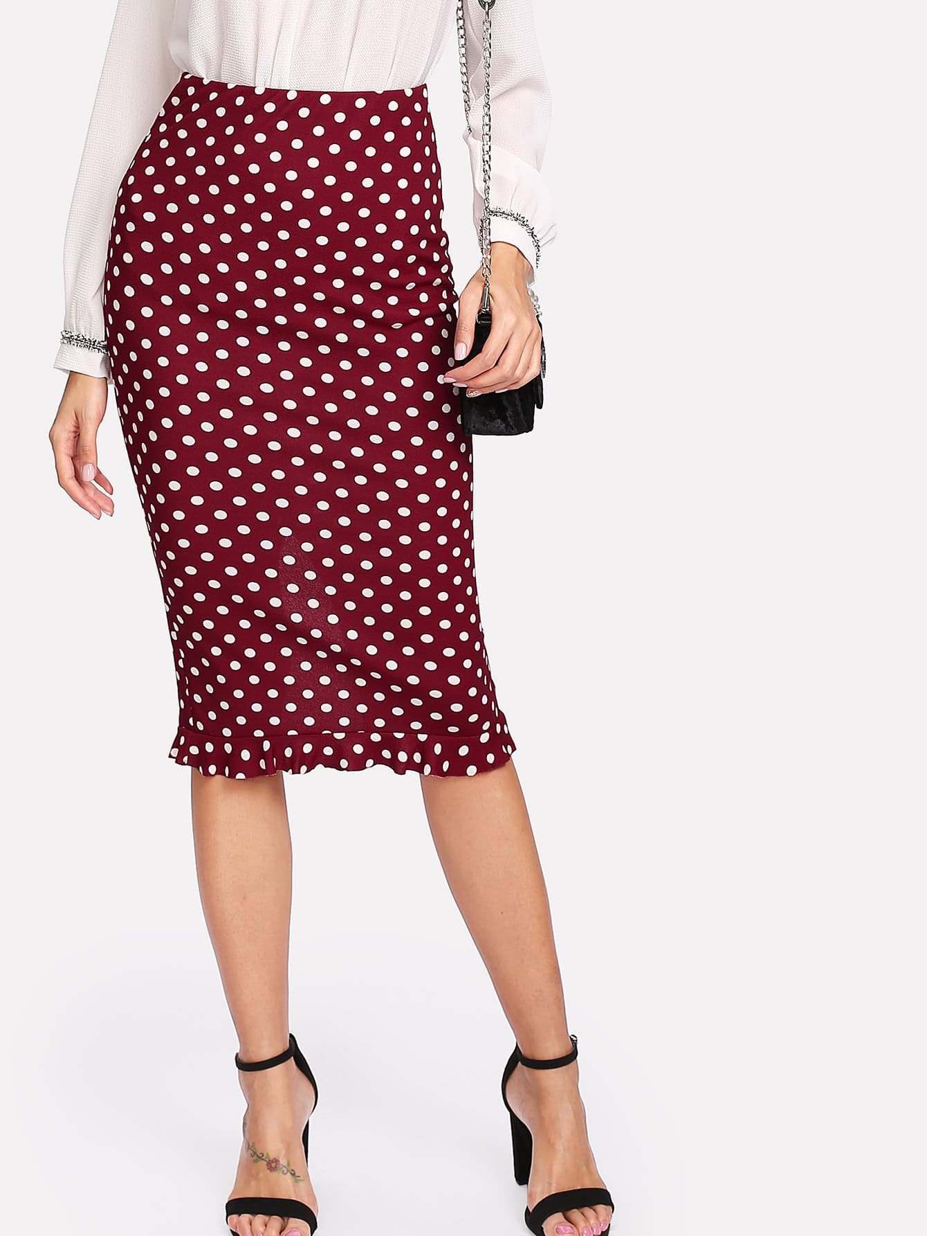 Slit Back Ruffle Hem Polka Dot Skirt polka dot slit hem contrast dress