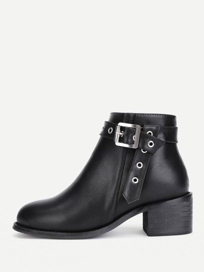 Buckle Strap Side Zipper Ankle Boots