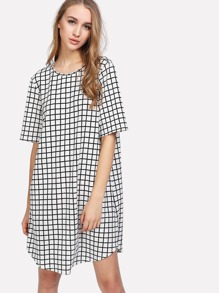 Grid Curved Hem Swing Dress