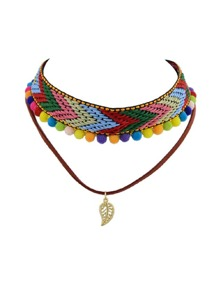 Bohemian Tattoos Choker Colorful Rope Braided Ball Charm Necklace