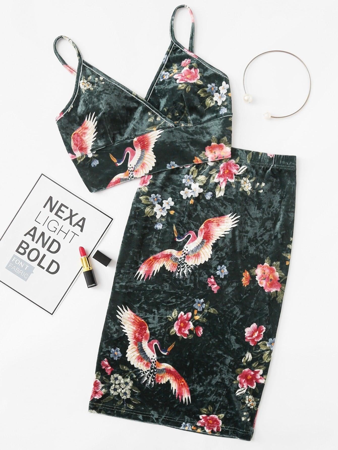 Floral Velvet Bralette Top & Pencil Skirt Co-Ord floral pencil midi skirt
