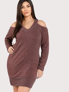 Cold Shoulder Knit Dress MAUVE