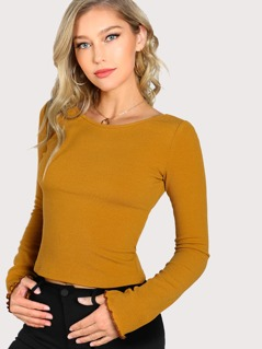 Lettuce Edge Trim Crop Tee
