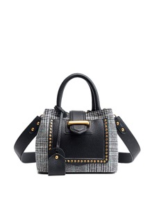 Studded Decor Houndstooth Shoulder Bag