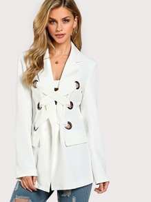 Notch Collar Grommet Lace Up Front Blazer