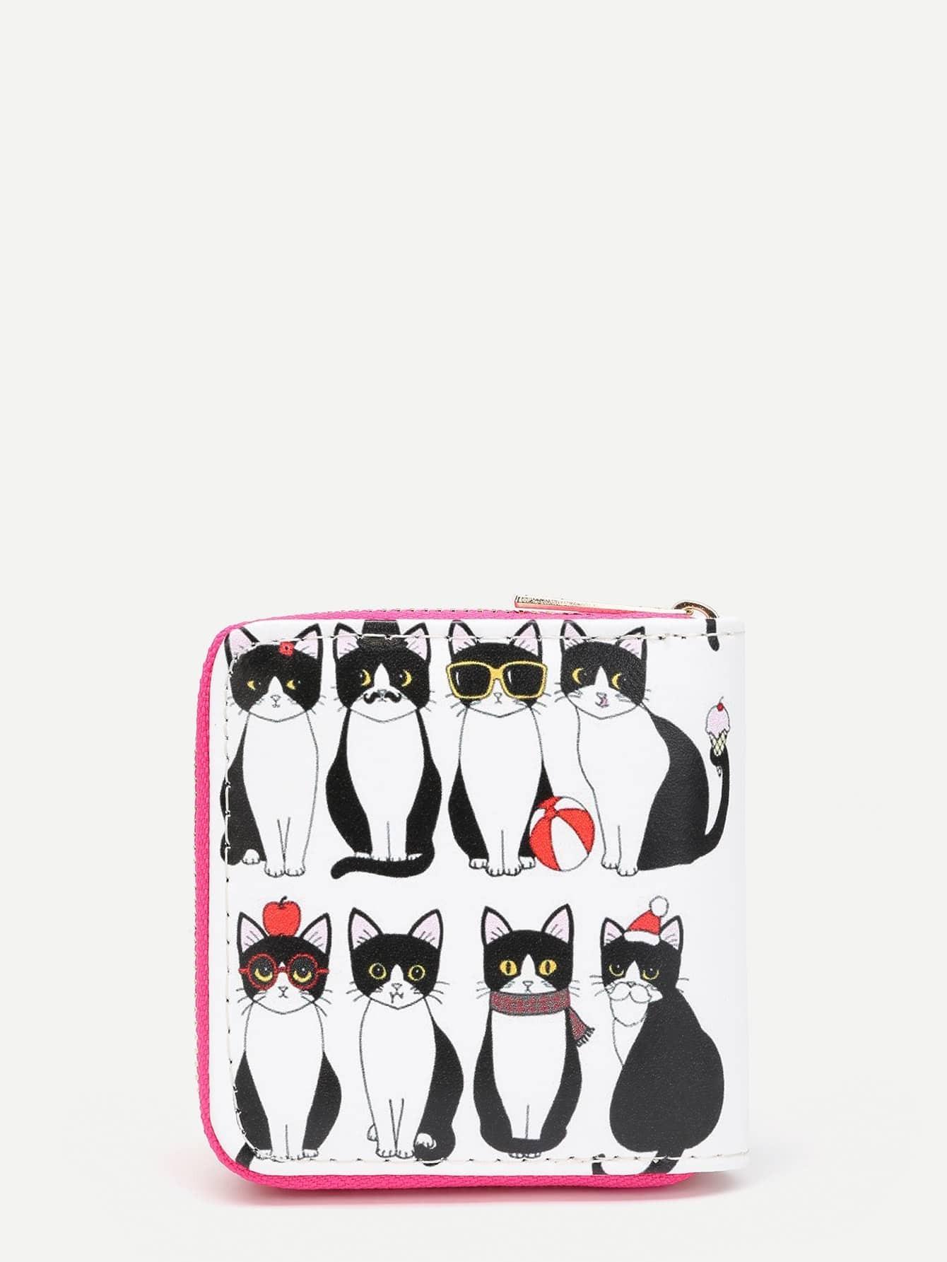 купить Cat Print Zip Around PU Wallet недорого