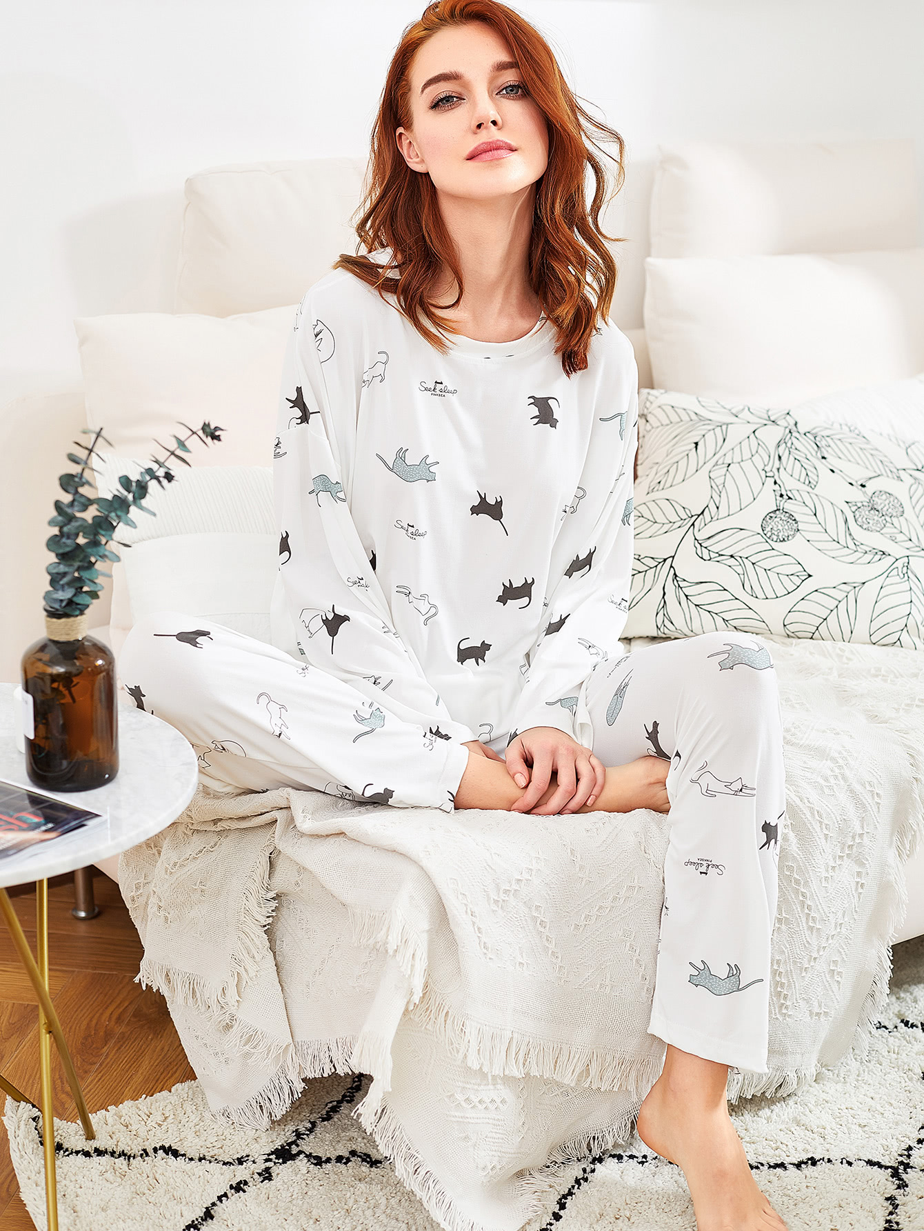 Cat Print Long Pajama Set все цены