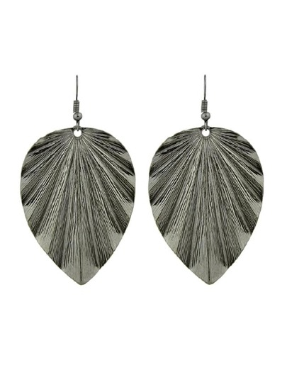 Gunblack Long Earrings With Leaf Charm Drop Earrings