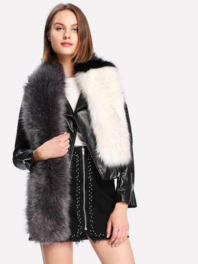Two Tone Faux Fur Tippet Scarf