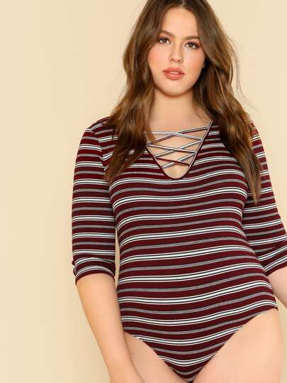 Crisscross Neck Rib Knit Striped Bodysuit