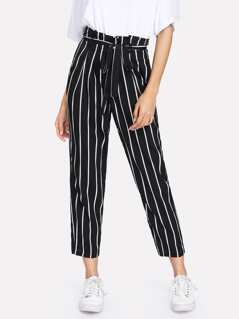 Self Belt Striped Pants