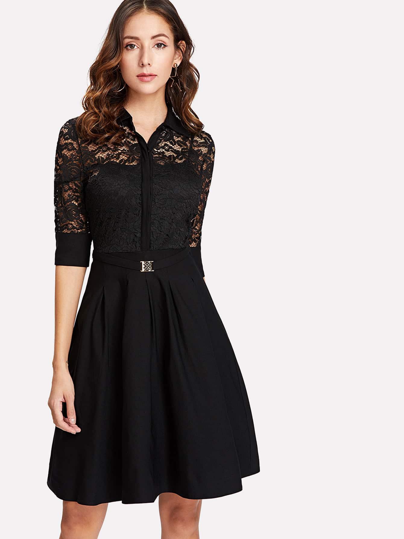 все цены на Lace Contrast Shirt Dress
