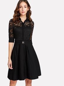Lace Contrast Shirt Dress