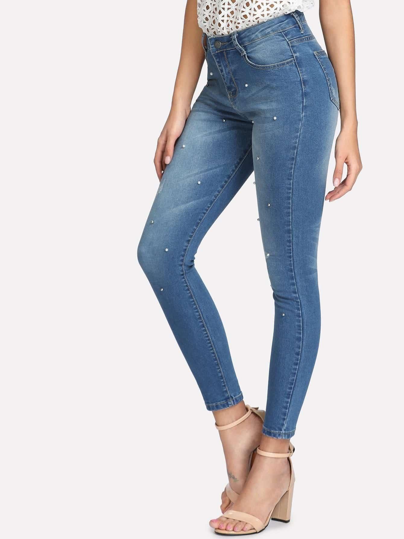 Beaded Skinny Jeans