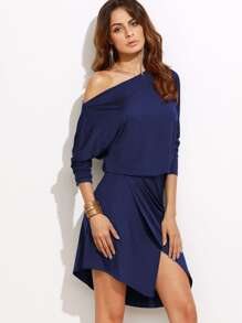 Asymmetric Shoulder Overlap Dress