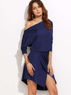 Asymmetric Shoulder Overlap Dress