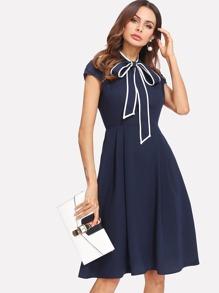 Contrast Binding Tie Neck Fit & Flare Dress