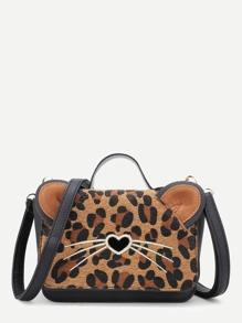 Leopard Flap Design PU Crossbody Bag With Ear