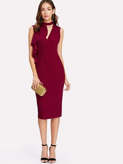 Split Back Flounce Embellished Fitted Dress