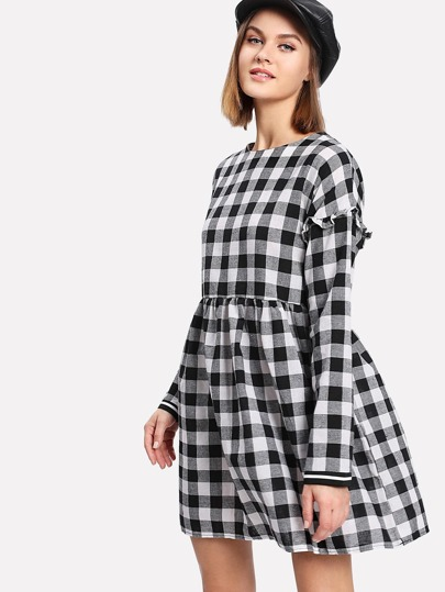Check Plaid Frill Trim Babydoll Dress