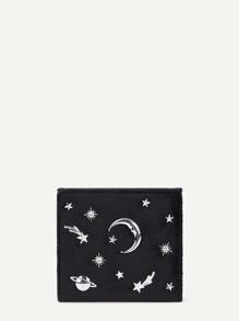 Moon & Star Detail PU Wallet