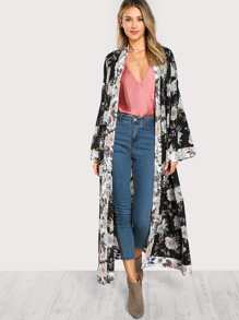 Self Belted Floral Longline Kimono