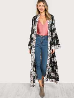 Self Belted Floral Longline Kimono