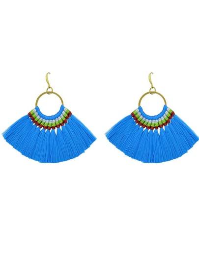 Blue Boho Fan Shaped Earrings Ethnic Style Tassel Big Earrings