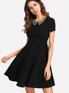 Beaded Collar Fit & Flare Dress