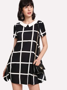 Contrast Collar Flowy Grid Dress