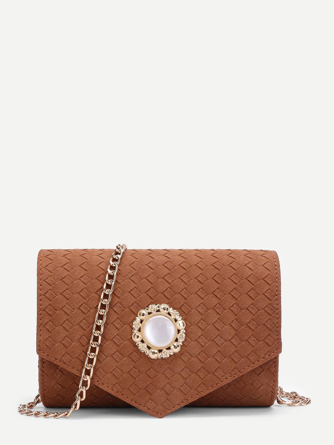 Woven Design Flap Chain Bag With Jewelry карганова е желтик