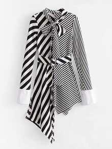 Self Tie Asymmetrical Stripe Splicing Dress